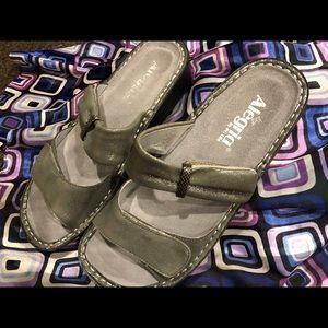Silver leather Alegria sandals euro 39